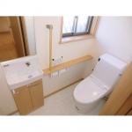 手洗いカウンター付きのトイレです。建具に合わせてナチュラルな色にしました。